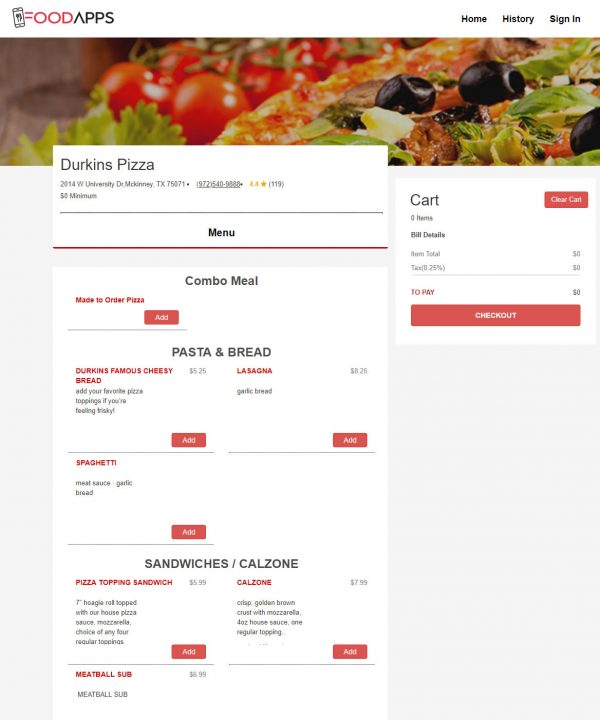 Online Web Ordering System for Restaurants